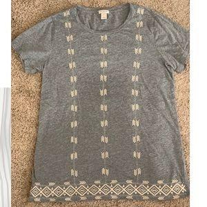 J. Crew Gray T-shirt w/Embroidery Detail